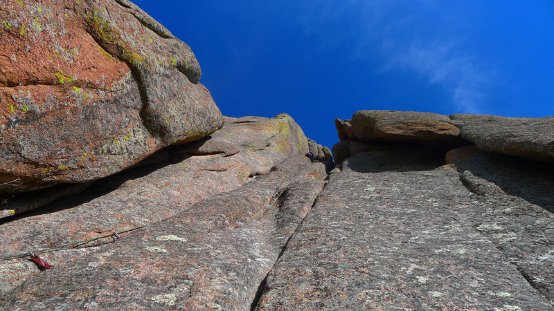 Rock Climbing Photo: Second pitch of Nail, crack on left with rope.
