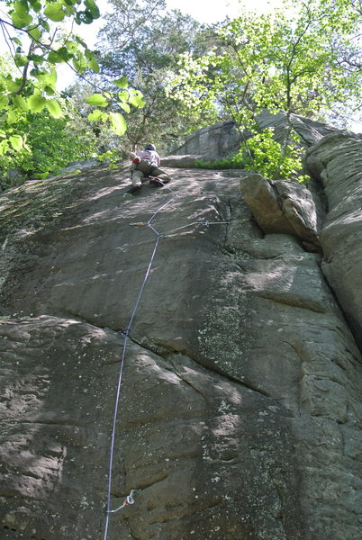 Jon J leading Mammalary Magic 05-31-15.  He is up in the real meat of the climb here.