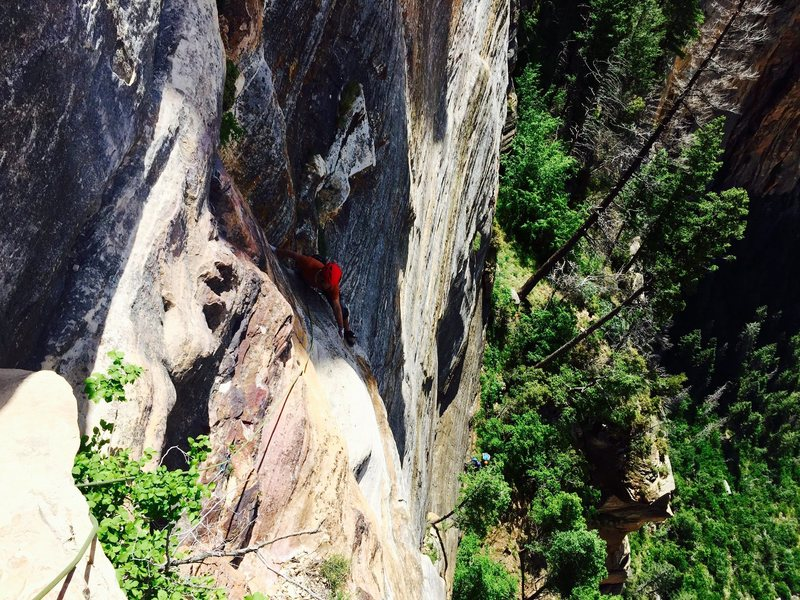 Nate following the awesome 7th pitch of the great dihedral