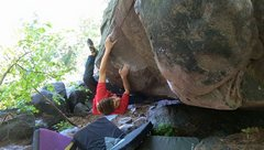 Rock Climbing Photo: Nimmer sizing up the crux