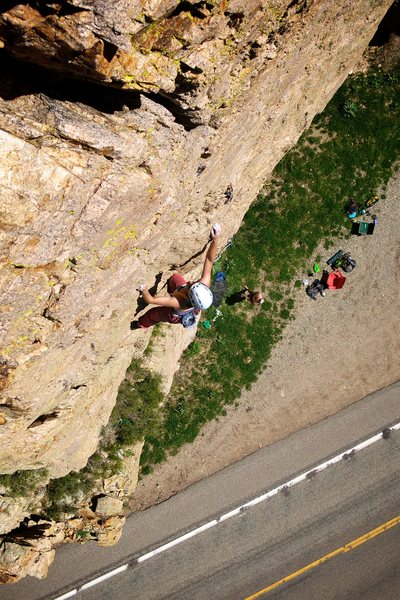 Rock Climbing Photo: Pretty unique position over the road. May 2015.