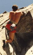 Back in the day, ~1989, 90 Foot Wall, Lightning Bolt 5.10b --going over.....