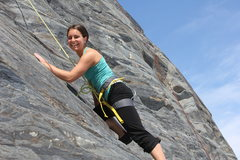 Rock Climbing Photo: Katie stepping off the plastic and onto her first ...