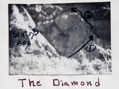 "Rock Climbing Photo: The ""Diamond Area""; B&W photo, circa lat..."