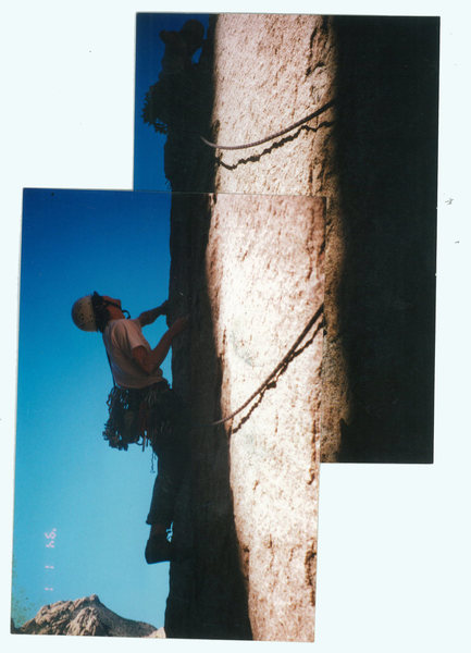 Rock Climbing Photo: Pitch 3 finding the last bolt. I fell about ten fe...