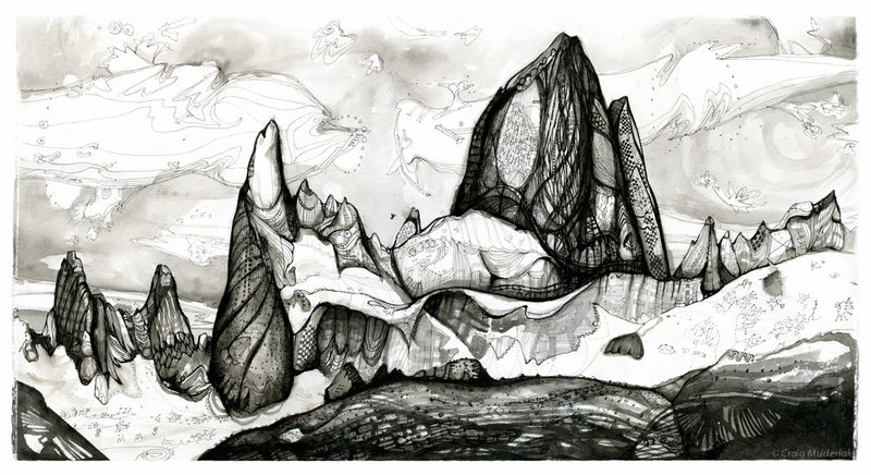 """Patagonia Dreams"" - 22"" x 14"" - pen/ink"