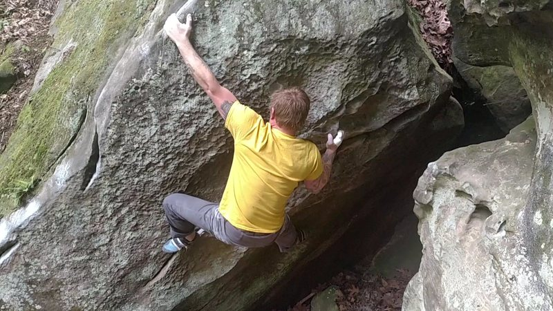"Eric Gifford hitting the arete of ""The Mosquito"""