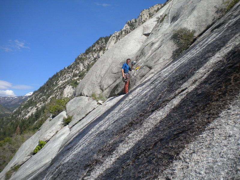 Rock Climbing Photo: Cross the waterfall and you're home free