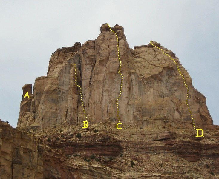 The Weasel Formation. A) Little Weasel Spire 5.9 C1. B)Horus Tower 5.8 C1 C)Ozymandias 5.9 C2 D)Live Free or Die Tower. 5.9 C2