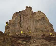 Rock Climbing Photo: The Weasel Formation. A) Little Weasel Spire 5.9 C...