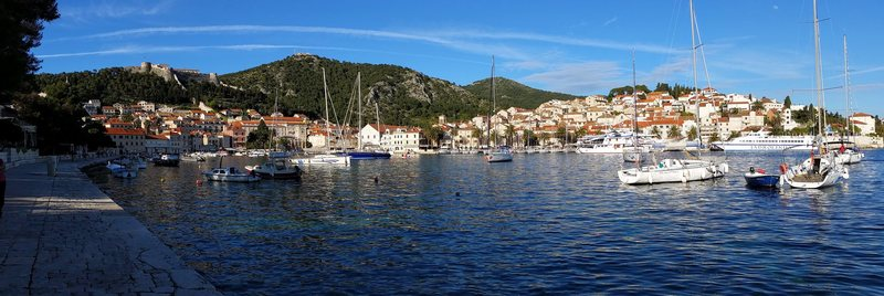 This is the TOWN of Hvar...on the island of Hvar.  Note 15th century castle on the hilltop.