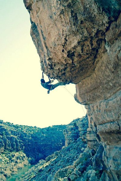 JJ on the super classic Whirlwind 5.12- The Bend. <br> <br> Hard, beautiful open project to the right.<br>