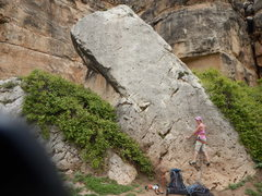 Rock Climbing Photo: I think I can...it's only 5.5...the bolts are very...
