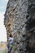 Rock Climbing Photo: looking up at the upper half of the route