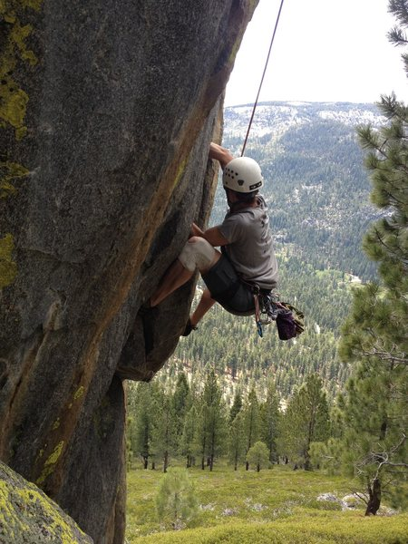 Rock Climbing Photo: Working the steep hand crack on the lower portion ...