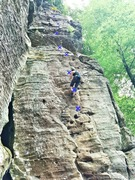 Rock Climbing Photo: Tricky moves between the 3rd and 4th bolt