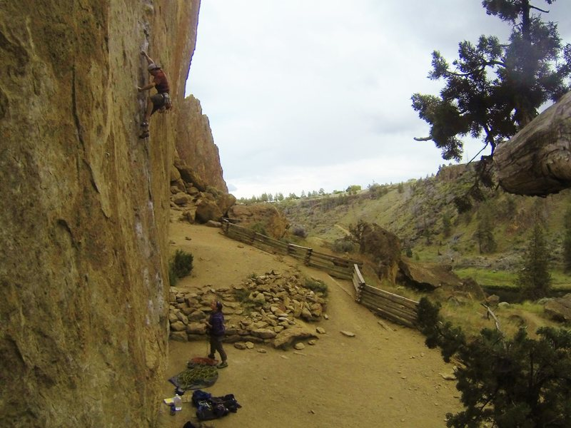 Overboard, 5.11c (First Pitch)<br> Morning Glory Wall.<br> Smith Rock, Oregon.