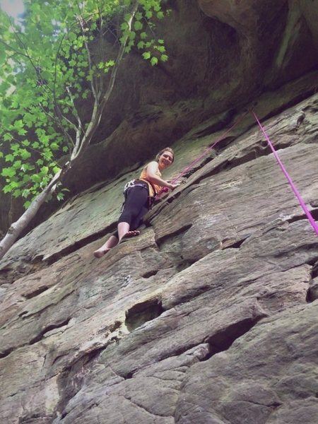 Barefoot climbing at Red River Gorge, Kentucky.