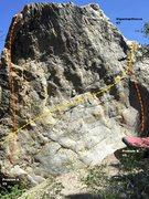 Rock Climbing Photo: Gigantopithecus Boulder east face Topo