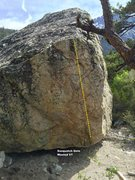 Rock Climbing Photo: Wasted Boulder North face topo
