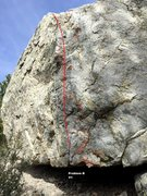 Rock Climbing Photo: Wasted Boulder south west arete topo