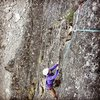 """Jess nearing the top of P1 of the Diamond's """"Unknown 5.9."""""""