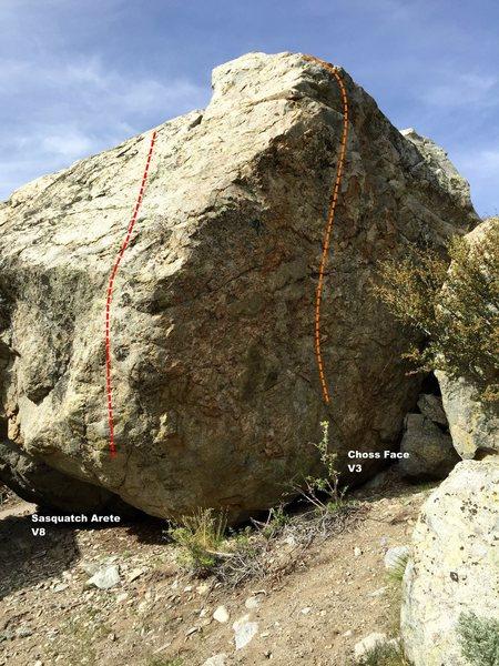 Rock Climbing Photo: Saquatch Boulder south west arete topo