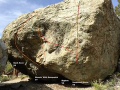 Rock Climbing Photo: Sasquatch Boulder west face right topo