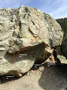 Rock Climbing Photo: Sasquatch Boulder west face left topo