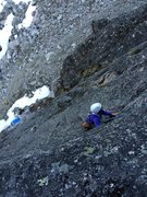 Rock Climbing Photo: Looking down P1 from the nice, clean granite ancho...