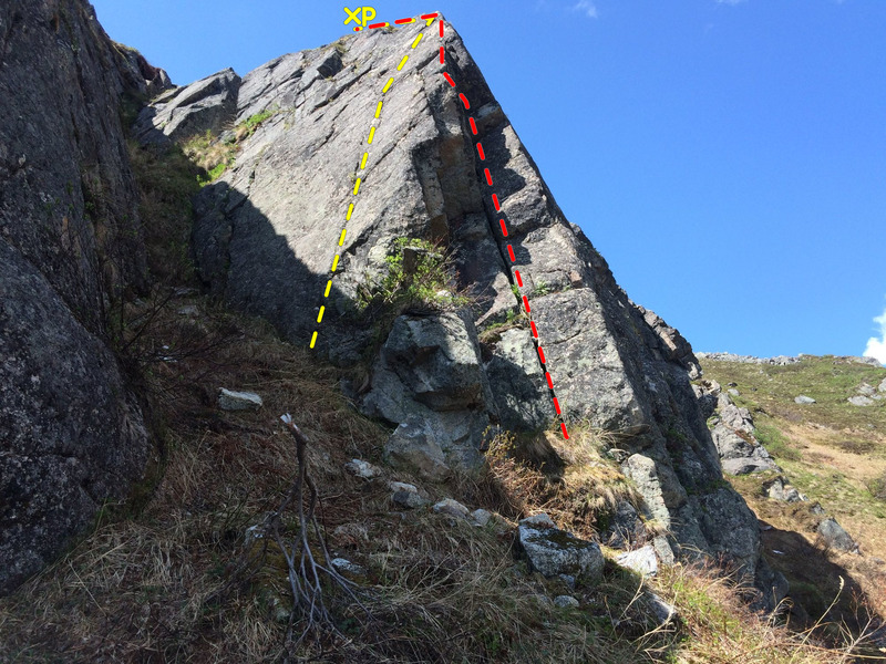 Stairway to heaven (left, yellow) and Highway to hell (right, red).  Continue over top to large, flat tundra ledge with bolt and piton anchor.