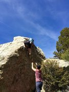 Rock Climbing Photo: Starting the precarious finishing moves.