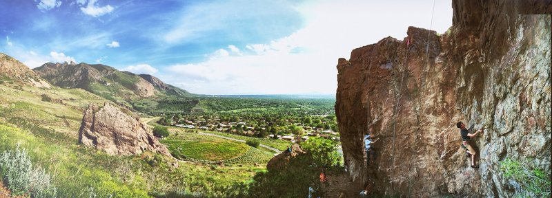 Panorama of 9th street climbing area and Ogden beyond.