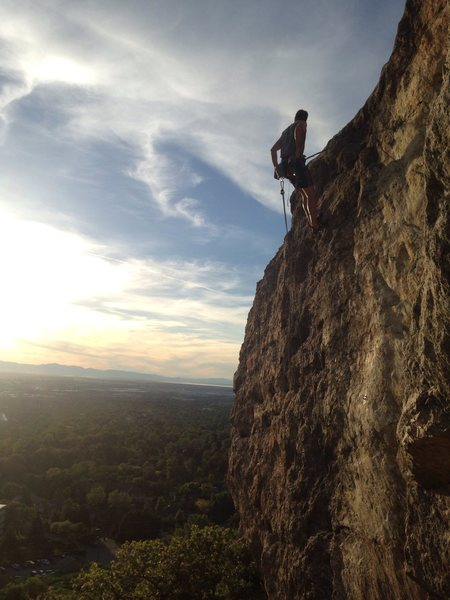 Patrick Linder cleaning the route, with Ogden beyond.