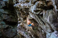Rock Climbing Photo: The first challenging move on the route. Commit.