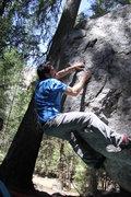 Rock Climbing Photo: V4 on Presidential Boulder Yosemite