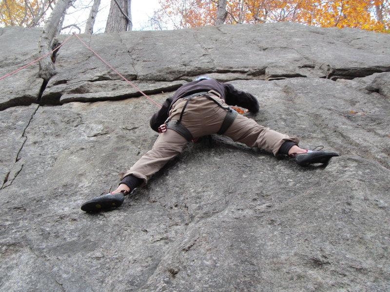 St. John's Ledges, CT. 5.6 crack climb<br> (first outdoor climbing)