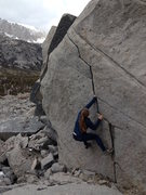 alpine boulder at the top of morgan's pass in little lakes valley, eastern sierras.