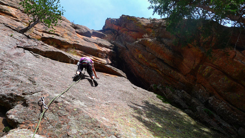 Rock Climbing Photo: Climber on Deceptive Slab.