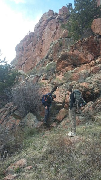 Rock Climbing Photo: On the approach to the Solarium (visible in the ba...