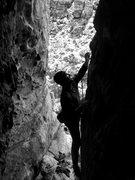 Rock Climbing Photo: Corey on The Thwarter 5.11-, The Cronyism Area.