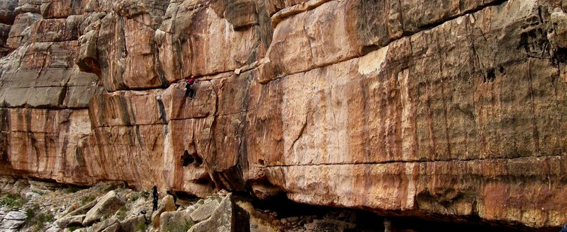 Rock Climbing Photo: Dawn on an unnamed route at the Nepotism Area.