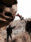Rock Climbing Photo: JJ doing up the jump start of Nepotism.