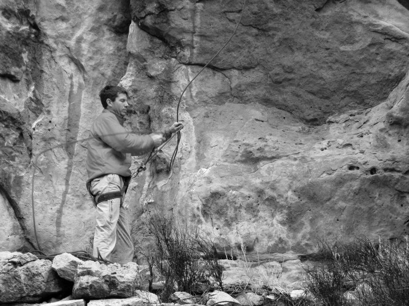 Rock Climbing Photo: David with his hands full, Baker's Wall.