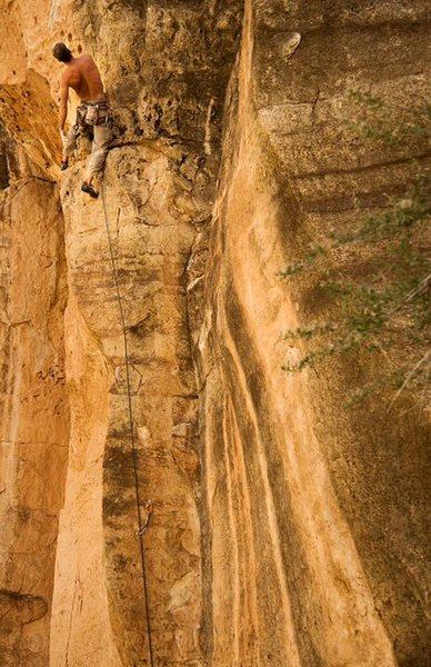 Rock Climbing Photo: JJ on Runaway Train 5.11, the Shady Wall.