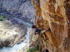 Rock Climbing Photo: JJ firing off Open Range 5.11+, Cronyism Area.
