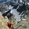 Chris gets his introduction to the dark art of free soloing alpine routes on the Upper Exum<br> <br> July 2014