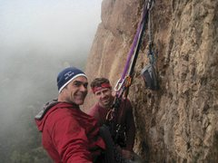 Rock Climbing Photo: On the summit of Head Wound in the clouds with Bri...