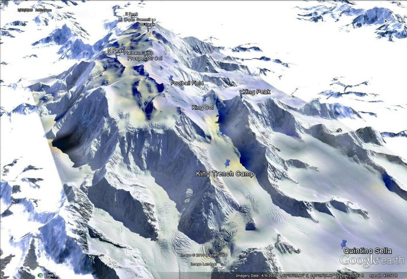 Rock Climbing Photo: Google Earth image of Mt Logan/King Trench from th...