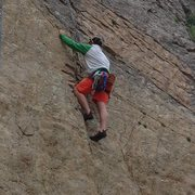 Rock Climbing Photo: After getting past the wires, the route is a walk ...